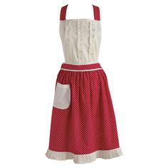 Pretty Red & White Ruffled Apron.