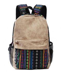 Ethnic Woven Flowers Backpack