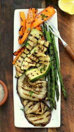 Grilled vegetable salad with basil infused olive oil and lemon juice.
