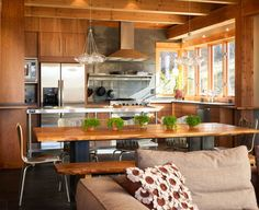 Reed Residence by Robert Hawkins Architects    Repurposed Wood Table and Bench