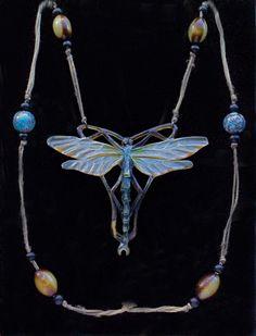 ELIZABETH BONTE Attrib.  Art Nouveau Dragonfly Pendant