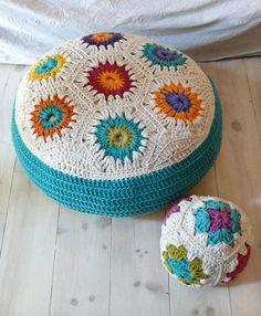 Crochet Floor Cushion with hexagons