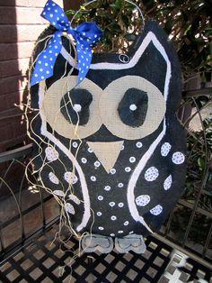 Owl Black Burlap Door Hanger Door Decoration by nursejeanneg, $28.00