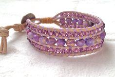 Lavender Jasper Leather Wrap Bracelet. $85.00, via Etsy.