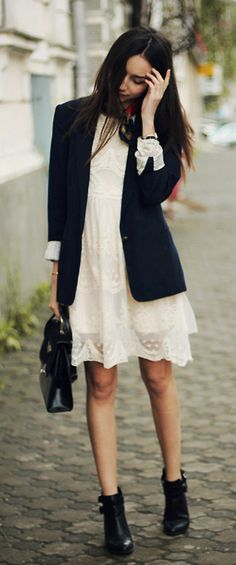 summer dresses, outfit, dress and blazer, little white dresses, lace dresses
