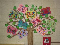 In spring, our tree gets a new set of finger painted green leaves.  We add blotted butterflies to brighten it up.