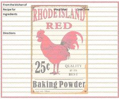 Rooster Recipe Card Freebie