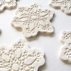Lace Pottery Snowflakes