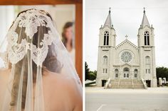 Door County Wedding. Photo by Oliver Howell. Veil from the Bride's mother. Ceremony Location is Saint Joseph Catholic Church, Sturgeon Bay.
