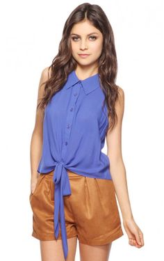 Royal Blue Chiffon Sleeveless Blouse