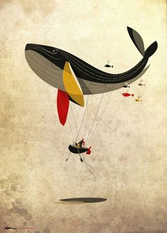 riccardo guasco, riccardoguasco, whale watching, art prints, poster, whale party, hot air balloons, design, illustr