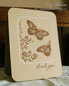 handmade card ... monochromatic browns ... kraft base ... butterflies ... stiching lines ... lovely ...