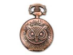 Antique Copper-Plated Vintage Style Watch Pendant with Hinged Owl Face Cover