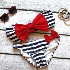 Nautical bathing suit -- Perfect for Summer! Love the style obviously needs to be more modest for this mama :)