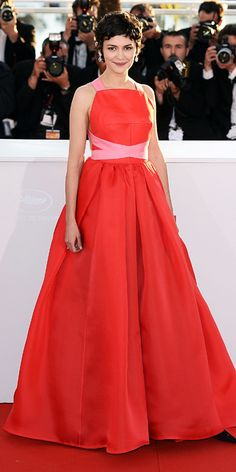 Audrey Tautou in a floor-length red and pink Prada in Cannes 2013
