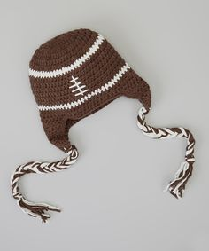 Brown & White Football Earflap Beanie on zulily today! Wish we knew if it's a boy or a girl...