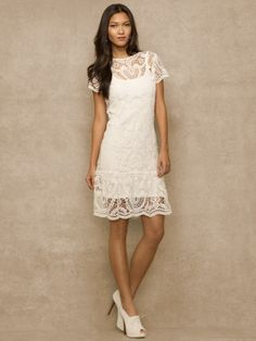 Crocheted Dress - Blue Label Short Dresses - RalphLauren.com