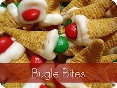 Bugle Bites: Bugles Chips, M&Ms, and melted white almond bark