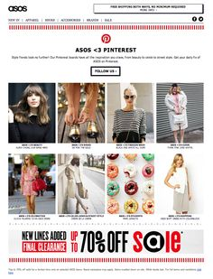 "Pinterest-focused email from ASOS. In addition to the ""Follow us"" call-to-action, each image clicks through to a Pinterest board."