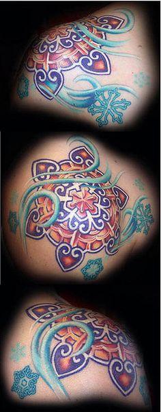 snowflake tattoo by maliareynolds, via Flickr...not snowflake but perhaps a gypsy mama mandala?