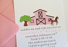 Girl Horse / Barn Birthday Party Invitations  SET by LittleMavens, $24.00