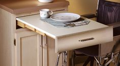 Assisted Living Applications | Kitchens an excellent idea, a pull out table with wheelchair access. #kitchens #seniorsliving #wheelchair. #table