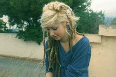 Blond #dreads stretched ears