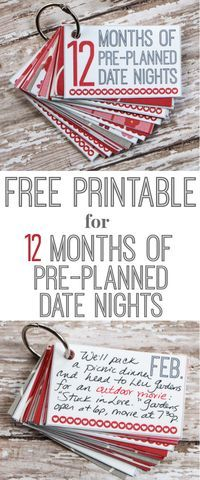 FREE Printable for a super creative gift idea: 12 Months of Pre-Planned Date Nights.  Great for Valentine's Day, birthdays, anniversaries, Christmas...or ordinary days.