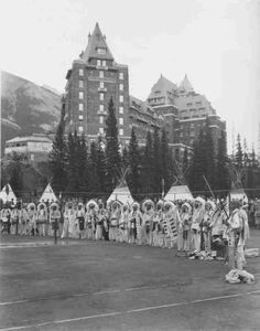 Assiniboine men near Banff Springs Hotel, Alberta Province, Canada - 1922