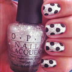 OPI Crown Me Already! Polka dot love by me. polka dots, nail polish, crowns, polkadot, silver, nail arts, sparkle nails, glitter, polka dot nails