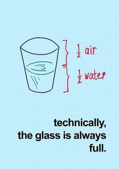 Is the Glass Half Empty or Half Full?  The debate ends here. Right now! Stop thinking about what could have been. What might have been. Stop thinking about the glass as half empty. Because technically the glass is ALWAYS full.