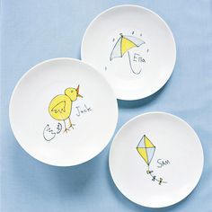 Turn children's drawings into cute decorative plates! A very creative mother's day gift she will be happy to put on display!