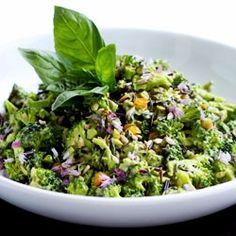 Creamy, delicious and healthy broccoli salad with a citrus and avocado dressing. #foodgawker