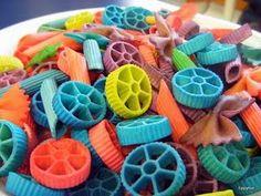 """Rainbow """"wheel"""" pasta art!"""