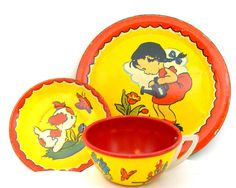 50's Tin Toy Tea Setting Cup & plates with the by OldeTymeNotions