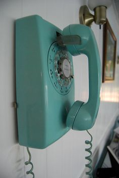 Retro turquoise house phone.