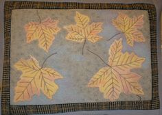 Quilted Wool Pillow Fall Leaves Hand Painted on by paintedquilts
