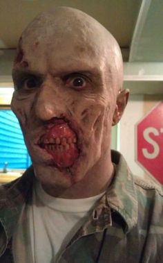 His best zombie face. #makeup #costume