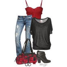 boot, woman fashion, purs, untitl 493, polyvore outfits red, texas outfits, clothing styles, shirt, red black