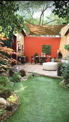 Private outdoor area. Patio Design, Back Patio, Outdoor Space, Outdoor Room, Garden Idea, Backyard, Garden Dining
