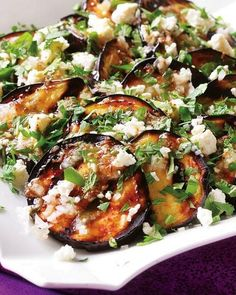 Grilled Eggplant with Garlic-Cumin Vinaigrette, Feta & Herbs. Eggplants inside and out! Add some crunch with Absolutely Gluten Free Flatbreads. #Absolutelygf #Glutenfree #Eggplant #Recipes