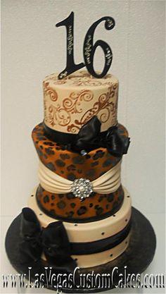 las vegas, vega custom, leopard print, cheetah print, custom cake, cheetah pattern, cakes for 16th birthday, cake for sweet 16, birthday cakes