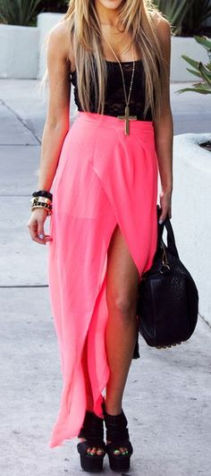 neon pink dress outfit, fashion, cloth, style, hot pink dress outfits, neon maxi, long skirts, pink maxi skirt outfit, maxi skirts