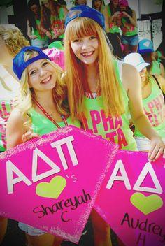 Alpha Delta Pi at Washington State University #AlphaDeltaPi #ADPi #BidDay #neon #snapback #diamonds #sorority #WSU