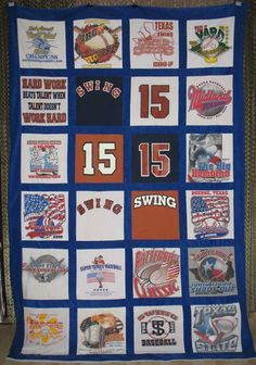memory-T-shirt-quilt-baseball sports graduation