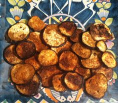Crispy baked eggplant chips #healthy