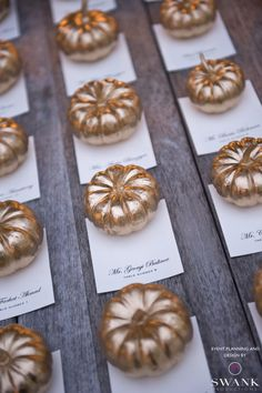 gold pumpkins great for an October wedding - would probably incorporate them into the centre pieces :) @Janna Accoroni @Michael Chaplin what you think?? :) xxxxx
