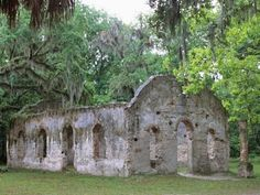 Chapel of Ease (built in the 1740s, burned in 1886) on St. Helena Island near Beaufort, South Carolina. ruin, st helena island