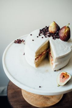 Hazelnut Layer Cake with Fig Compote + Vegan Cream Cheese Frosting from @dollyandoatmeal