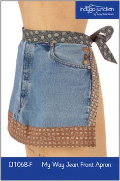 My Way Recycled Jean Front Apron | Sewing Pattern | YouCanMakeThis.com